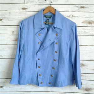 LRL Exclusive Linen Military Jacket Pale Blue